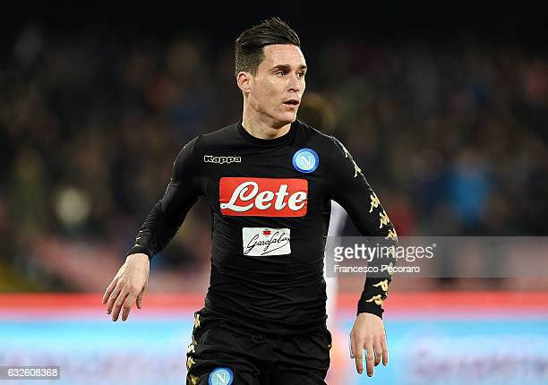 Jose Callejon of Napoli celebrates after scoring goal 10 during the TIM Cup match between SSC Napoli and ACF Fiorentina at Stadio San Paolo on...