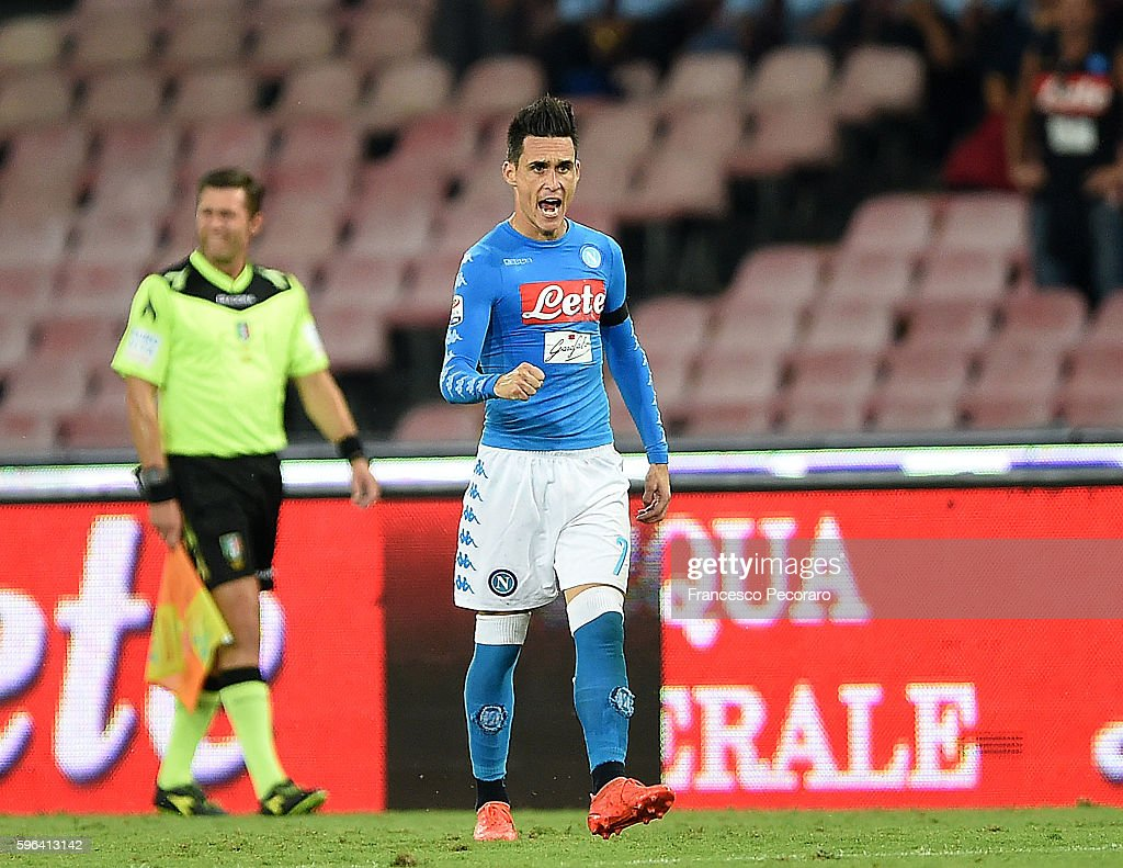 Jose Callejon of Napoli celebrates after scoring goal 32 during the Serie A match between SSC Napoli and AC Milan at Stadio San Paolo on August 27...
