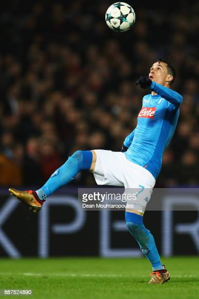 Jose Callejon of Napoli in action during the UEFA Champions League group F match between Feyenoord and SSC Napoli at Feijenoord Stadion on December 6...