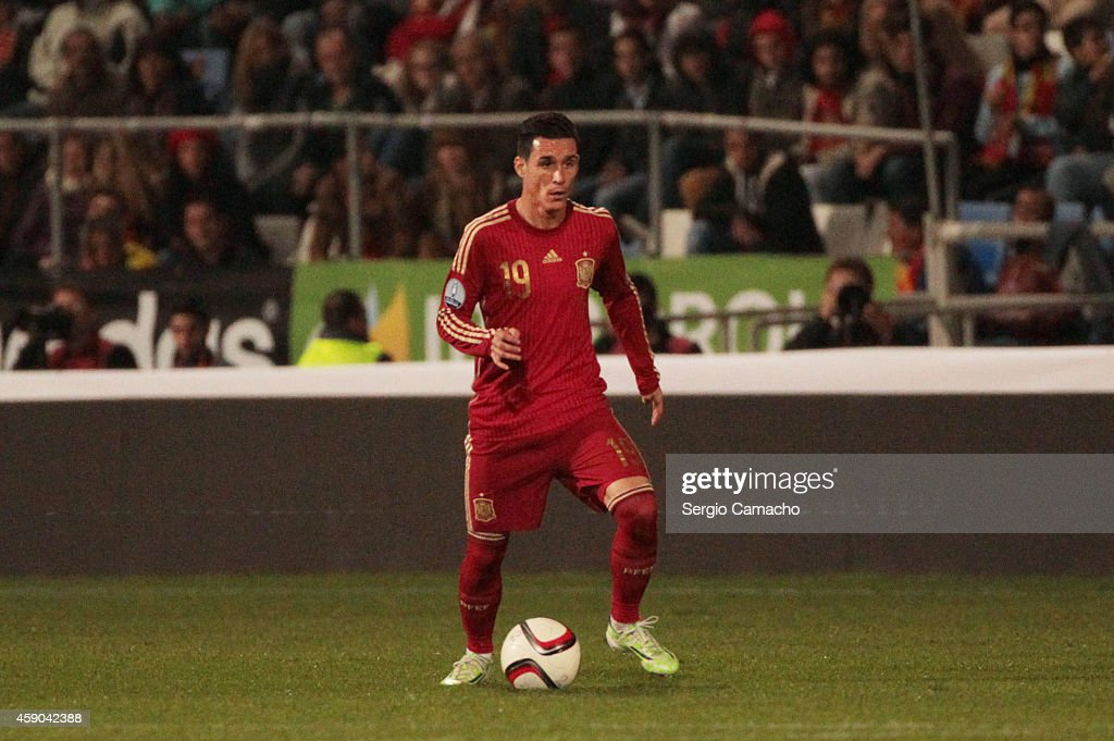 Jose Callejon of Spain controls the ball during the UEFA EURO 2016 Group C Qualifier football match between Spain and Belarus at Nuevo Colombino...