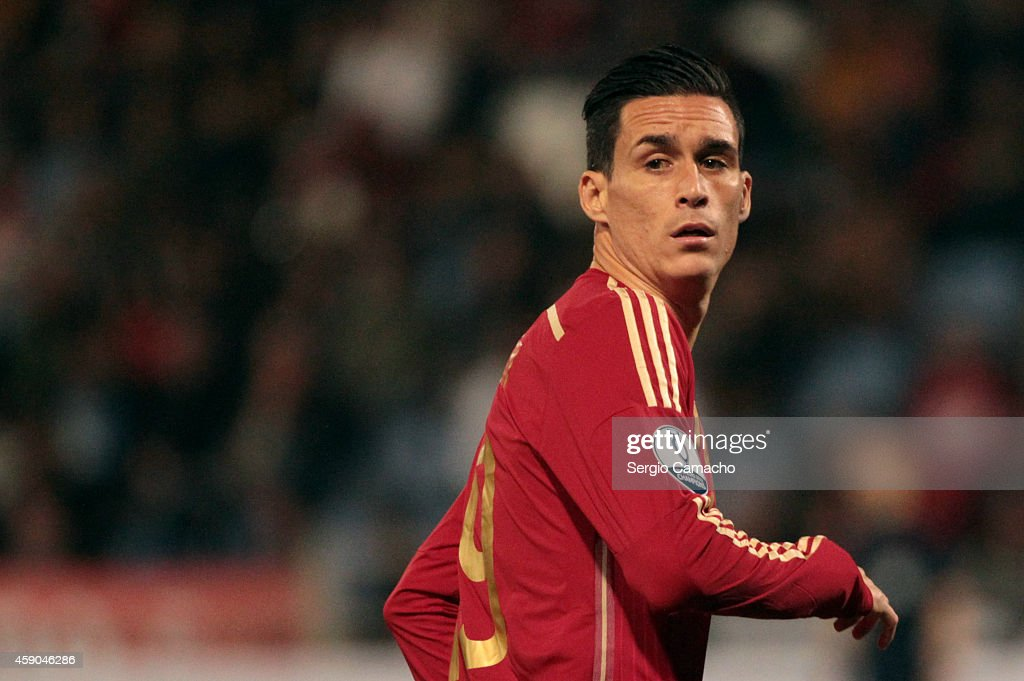 Jose Callejon of Spain runs during the UEFA EURO 2016 Group C Qualifier football match between Spain and Belarus at Nuevo Colombino studium on...