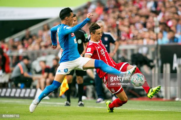 Jose Callejon of SSC Napoli and Marco Friedl of FC Bayern Muenchen fight for the ball during the Audi Cup 2017 match between SSC Napoli and FC Bayern...
