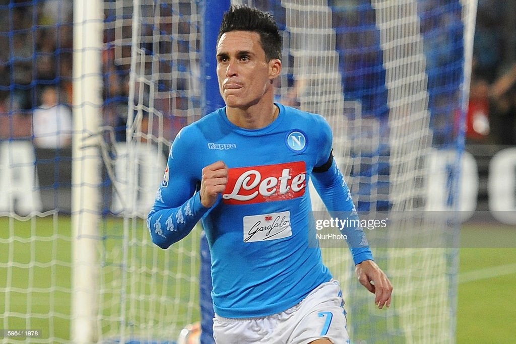 Jose Callejon of SSC Napoli celebrates after scoring during the Serie A match between Napoli v Milan at San Paolo Stadium on August 27 2016 in Naples...
