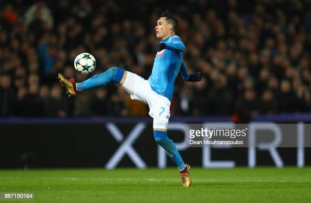 Jose Callejon of SSC Napoli controls the ball during the UEFA Champions League group F match between Feyenoord and SSC Napoli at Feijenoord Stadion...