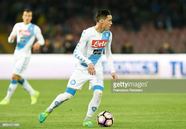 Jose Callejon of SSC Napoli in action during the TIM Cup match between SSC Napoli and Juventus FC at Stadio San Paolo on April 5 2017 in Naples Italy