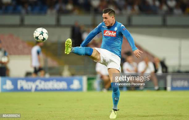 Jose Callejon of SSC Napoli in action during the UEFA Champions League Qualifying PlayOffs Round First Leg match between SSC Napoli and OGC Nice at...
