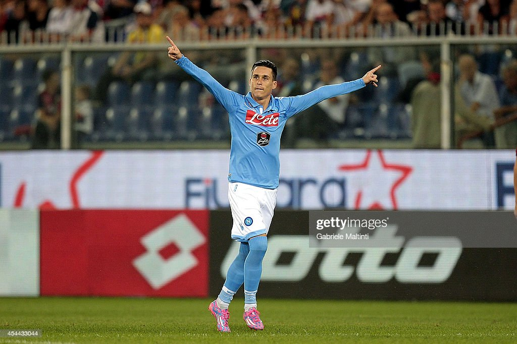 Jose' Callejon of SSN Napoli celebrate a goal during the Serie A match between Genoa CFC and SSC Napoli at Stadio Luigi Ferraris on August 31 2014 in...