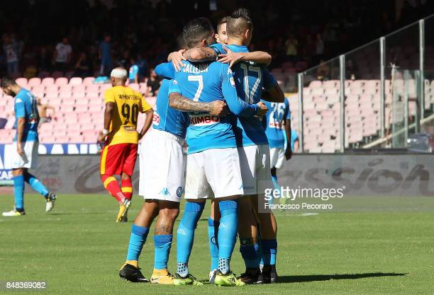 Jose Calleon Marek Hamsik Jorginho and Allan of SSC Napoli celebrate the 40 goal scored by Jose Calleon during the Serie A match between SSC Napoli...