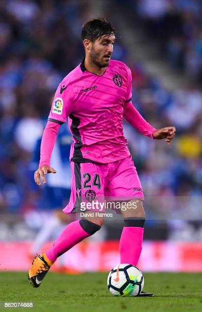 Jose Campana of Levante UD runs with the ball during the La Liga match between Espanyol and Levante at CornellaEl Prat stadium on October 13 2017 in...