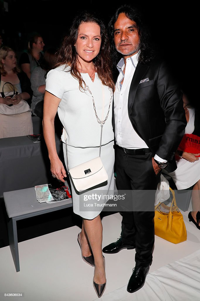 Jose Campos and Christine Neubauer attend the Minx by Eva Lutz show during the MercedesBenz Fashion Week Berlin Spring/Summer 2017 at Erika Hess...