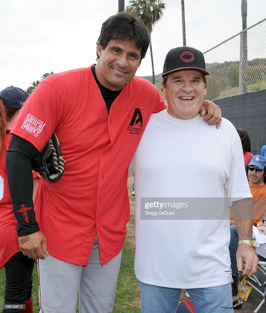Jose Canseco and Pete Rose at the Steve Garvey Celebrity Softball Game for ALS Research at Pepperdine University's Eddy D. Field Stadium on July 10, 2010 in Malibu, California.