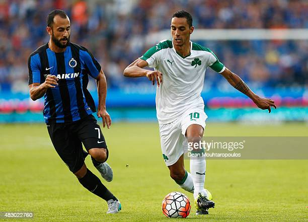 Jose Carlos Goncalves Zeca of Panathinaikos battles for the ball with Victor Vazquez of Club Brugge during the third qualifying round 2nd Leg UEFA...