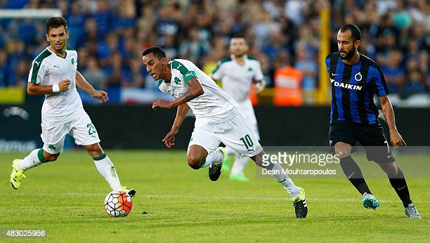 Jose Carlos Goncalves Zeca of Panathinaikos gets past Victor Vazquez of Club Brugge during the third qualifying round 2nd Leg UEFA Champions League...