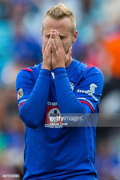 Jose Carlos Toffolo of Cruz Azul reacts after missing a chance during a match between Cruz Azul and Tijuana as part of 11th round Clausura 2015 Liga...