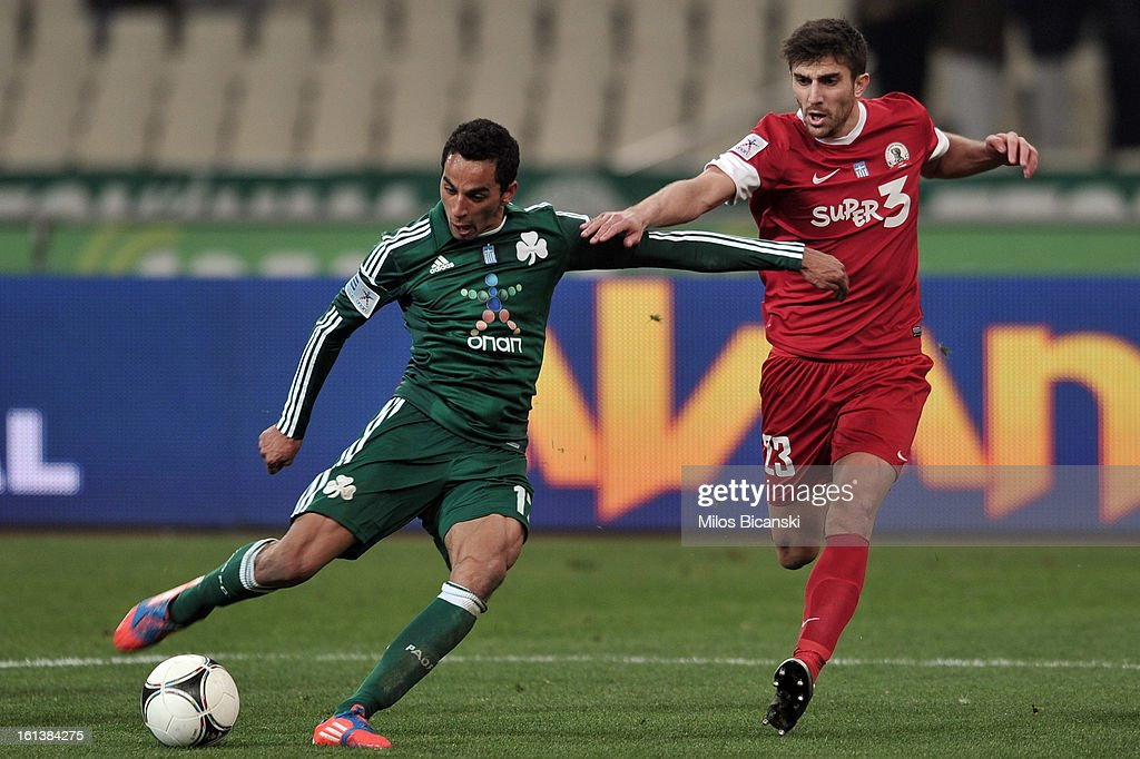 Jose Carlos Zeca of Panathinaikos FC competes for the ball with Komesidis Dimitris of Skoda Xanthi during the Superleague match between Panathinaikos FC and Skoda Xanthi at OAKA Stadion on February 10, 2013 in Athens,Greece.