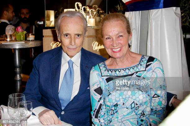 Jose Carreras and Karen Scheufele after his concert at the Thurn Taxis Castle Festival 2017 on July 23 2017 in Regensburg Germany