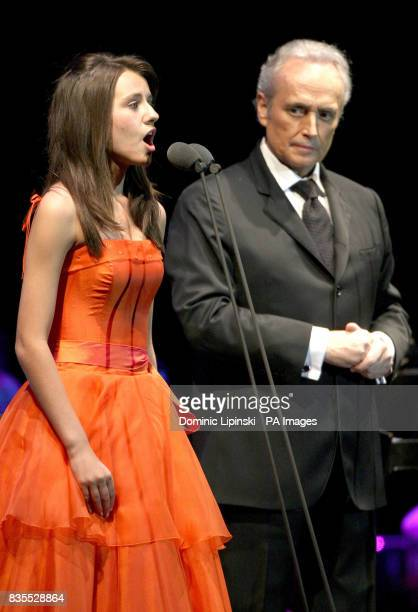 Jose Carreras performs with 13 year old Faryl Smith at the first night of the Hampton Court Palace Festival 2009 at Hampton Court Palace Surrey
