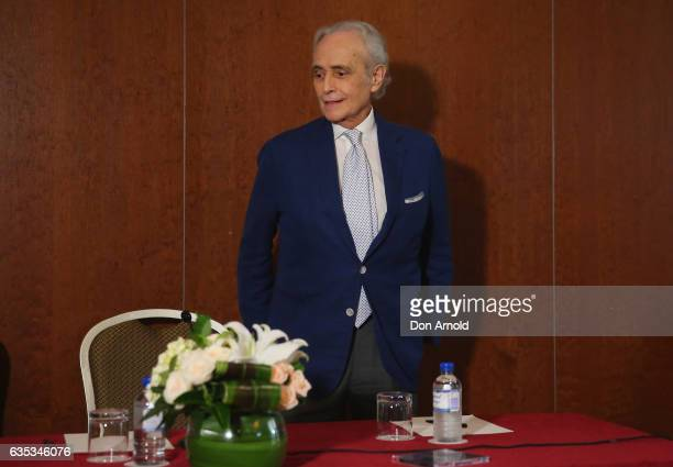 Jose Carreras poses just after a press conference at ShangriLa Hotel on February 15 2017 in Sydney Australia