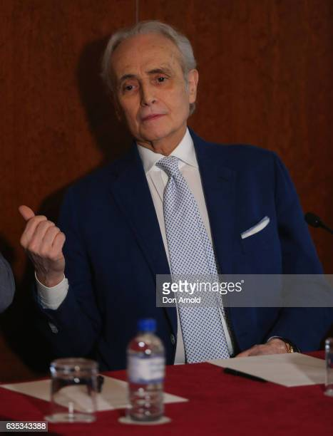 Jose Carreras speaks during a press conference at ShangriLa Hotel on February 15 2017 in Sydney Australia