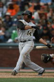 Jose Castillo of the Pittsburgh Pirates bats during the game against the San Francisco Giants at ATT Park in San Francisco California on June 11 2006...