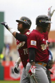 Jose Castillo of Venezuela celebrates during the Caribbean Series 2013 at Sonora Stadium on February 03 2013 in Hermosillo Mexico