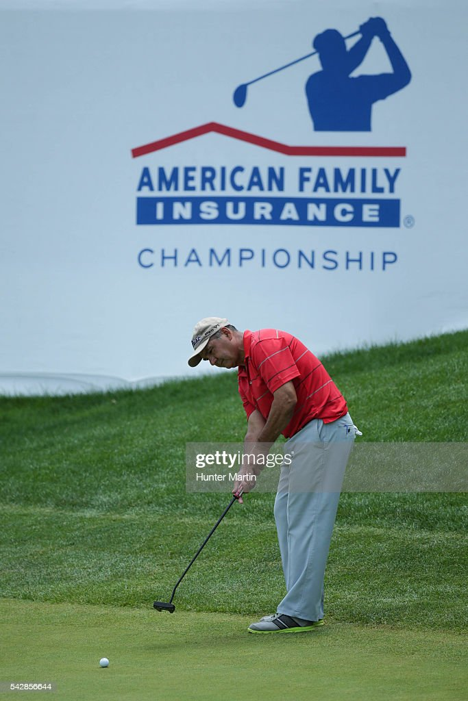 Jose Coceres of Argentina putts on the 18th hole during the first round of the Champions Tour American Family Insurance Championship at University Ridge Golf Course on June 24, 2016 in Madison, Wisconsin.