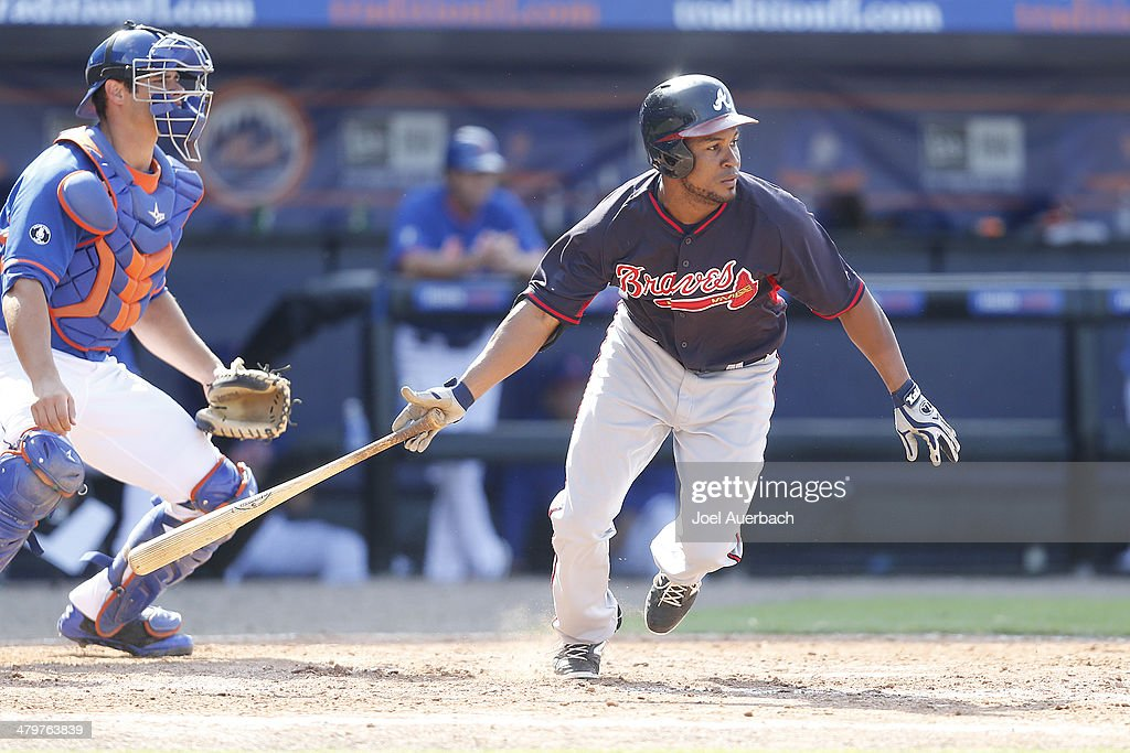 <a gi-track='captionPersonalityLinkClicked' href=/galleries/search?phrase=Jose+Constanza&family=editorial&specificpeople=7471312 ng-click='$event.stopPropagation()'>Jose Constanza</a> #13 of the Atlanta Braves hits the ball in the ninth inning against the New York Mets during a spring training game at Tradition Field on March 20, 2014 in Port St. Lucie, Florida. The Mets defeated the Braves 7-6.