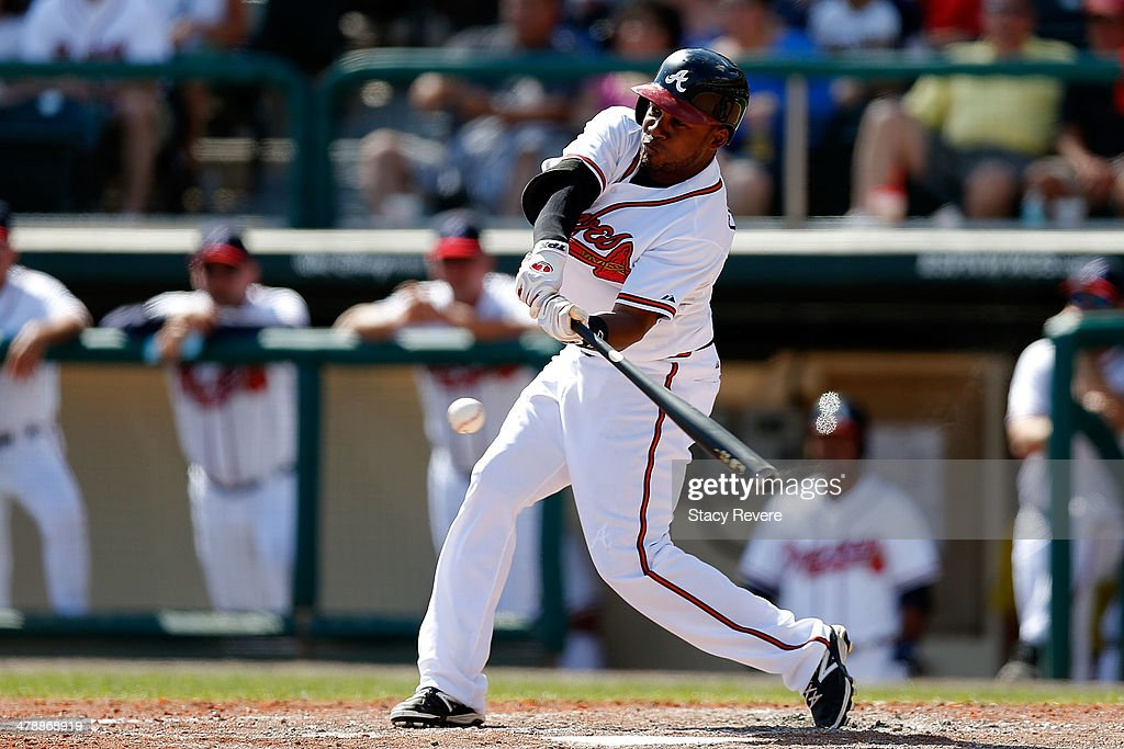 <a gi-track='captionPersonalityLinkClicked' href=/galleries/search?phrase=Jose+Constanza&family=editorial&specificpeople=7471312 ng-click='$event.stopPropagation()'>Jose Constanza</a> #13 of the Atlanta Braves swings at a pitch in the eighth inning of a game against the Tampa Bay Rays at Champion Stadium on March 14, 2014 in Lake Buena Vista, Florida. Atlanta won the game 6-1.