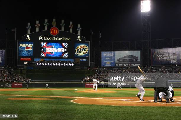 Jose Contreras of the Chicago White Sox delivers the first pitch of the 2005 World Series to Craig Biggio during Game 1 of the 2005 World Series...