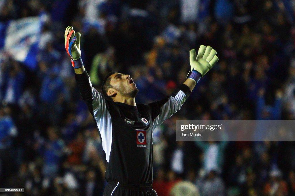 Jose de Jesus Corona, goalkeeper of Cruz Azul, celebrates a goal against Leon during a match between Cruz Azul and Leon as part of the Apertura 2012 Liga MX at Azul Stadium on November 14, 2012 in Mexico City, Mexico.
