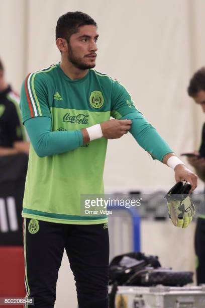 Jose de Jesus Corona goalkeeper of Mexico gets ready during a training session of the Mexico National Team ahead its participation in the Concacaf...