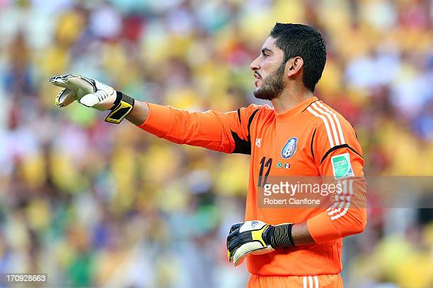 Jose de Jesus Corona of Mexico gestures during the FIFA Confederations Cup Brazil 2013 Group A match between Brazil and Mexico at Castelao on June 19...