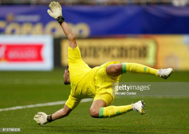 Jose de Jesus Corona of Mexico makes a save against Curaco in the first half during the 2017 CONCACAF Gold Cup at Alamodome on July 16 2017 in San...