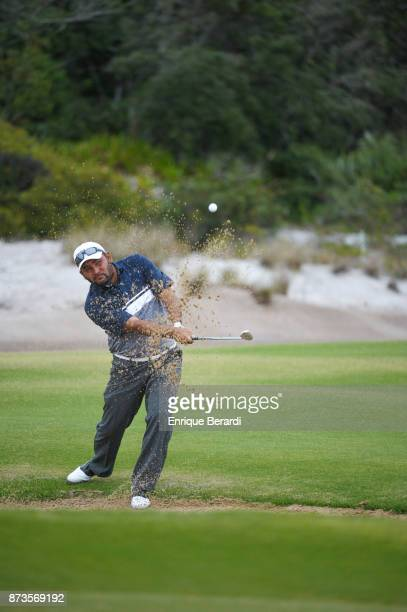 Jose De Jesus Rodriguez of Mexico hits out of a bunker on the third hole during the final round of the PGA TOUR Latinoamerica 64 Aberto do Brasil at...