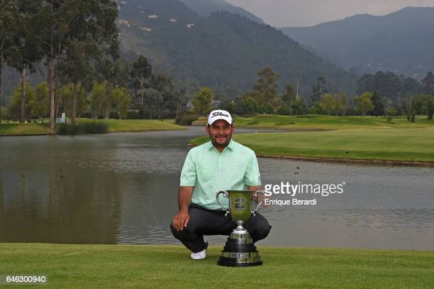 Jose de Jesus Rodriguez of Mexico poses with the trophy during the final round of the PGA TOUR Latinoamerica 70 Avianca Colombia Open at Club...