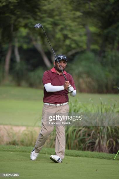 Jose de Jesus Rodriguez of Mexico tees off on the 16th hole during the final round of the PGA TOUR Latinoamérica Flor de Cana Open at Mukul Beach...