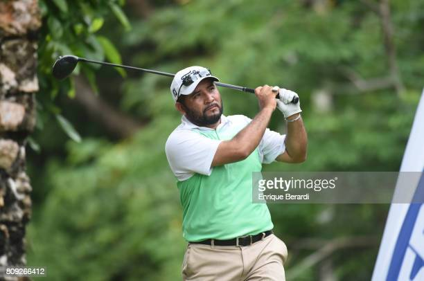 Jose de Jesus Rodriguez of Mexico tees off on the 18th hole during the final round of the PGA TOUR Latinoamerica BMW Jamaica Classic at Cinnamon Hill...