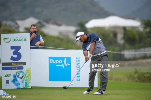 Jose De Jesus Rodriguez of Mexico tees off on third hole during the final round of the PGA TOUR Latinoamerica 64 Aberto do Brasil at the Olympic Golf...