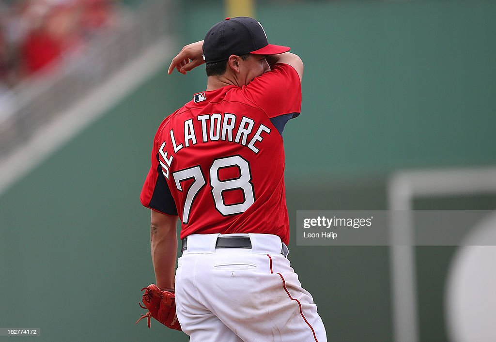 Jose De La Torre #78 of the Boston Red Sox reacts after giving up a two run home run in the seventh inning to Matt Adams #53 of the St. Louis Cardinals at JetBlue Park on February 26, 2013 in Fort Myers, Florida.