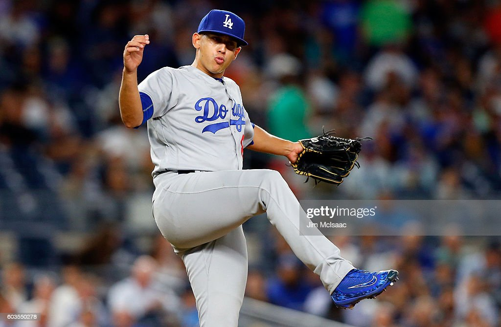 Jose De Leon #87 of the Los Angeles Dodgers reacts after getting a strikeout for the final out of the fifth inning against the New York Yankees at Yankee Stadium on September 12, 2016 in the Bronx borough of New York City.