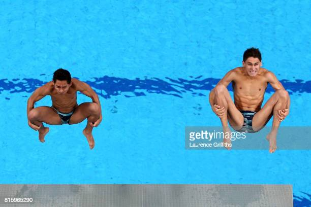 Jose Diego Balleza Isaias and Kevin Berlin Reyes of Mexico compete during the Men's Diving 10M Synchro Platform preliminary round on day four of the...