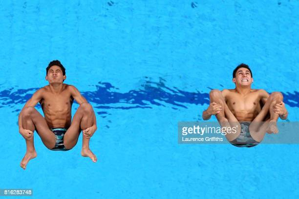 Jose Diego Balleza Isaias and Kevin Berlin Reyes of Mexico compete during the Men's Diving 10M Synchro Plaform final on day four of the Budapest 2017...
