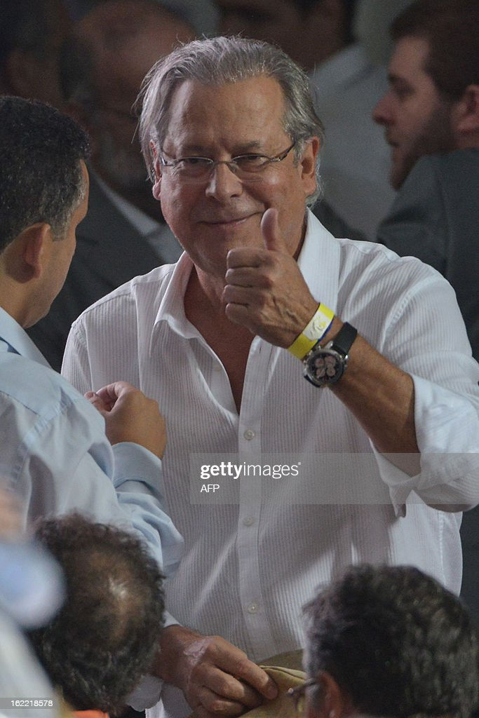 Jose Dirceu former Brazilian politician and the chief of staff to Lula da Silva's administration from 2003 to 2005 participate in the commemoration...
