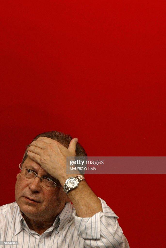 Jose Dirceu former Chief of Staff of Brazilian President Luiz Inacio Lula da Silva pauses during a rally in defense of democracy organized by the...