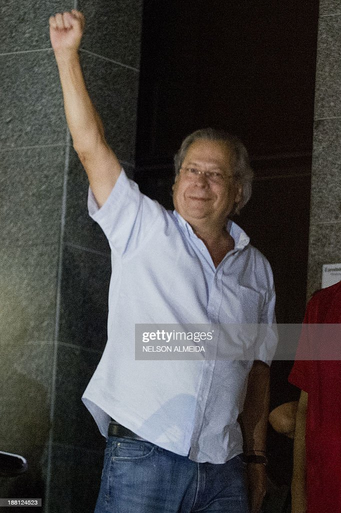 Jose Dirceu former Chief of Staff of President Luiz Inacio Lula da Silva accused in the Mensalao scandal arrives at the headquarters of the Federal...