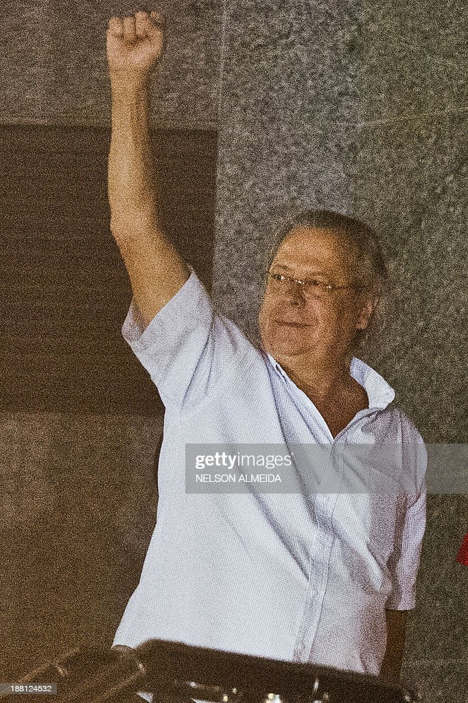Jose Dirceu, former Chief of Staff of President Luiz Inacio Lula da Silva accused in the Mensalao scandal, arrives at the headquarters of the Federal Police in Sao Paulo, Brazil on November 15, 2013.