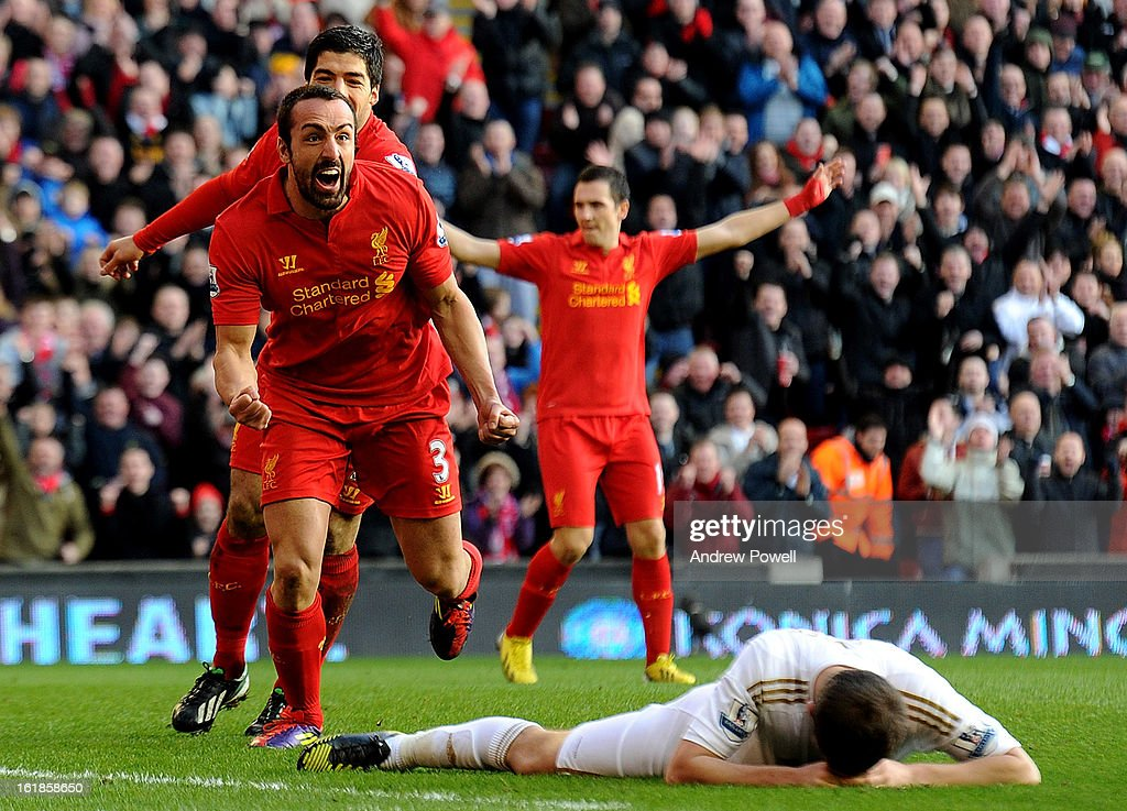 Jose Enrique of Liverpool celebrates his goal during the Barclays Premier League match between Liverpool and Swansea City at Anfield on February 17, 2013 in Liverpool, England.