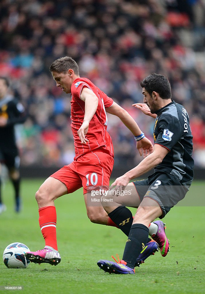 Jose Enrique of Liverpool shadows Gaston Ramirez of Southampton during the Barclays Premier League match between Southampton and Liverpool at St Mary's Stadium on March 16, 2013 in Southampton, England.