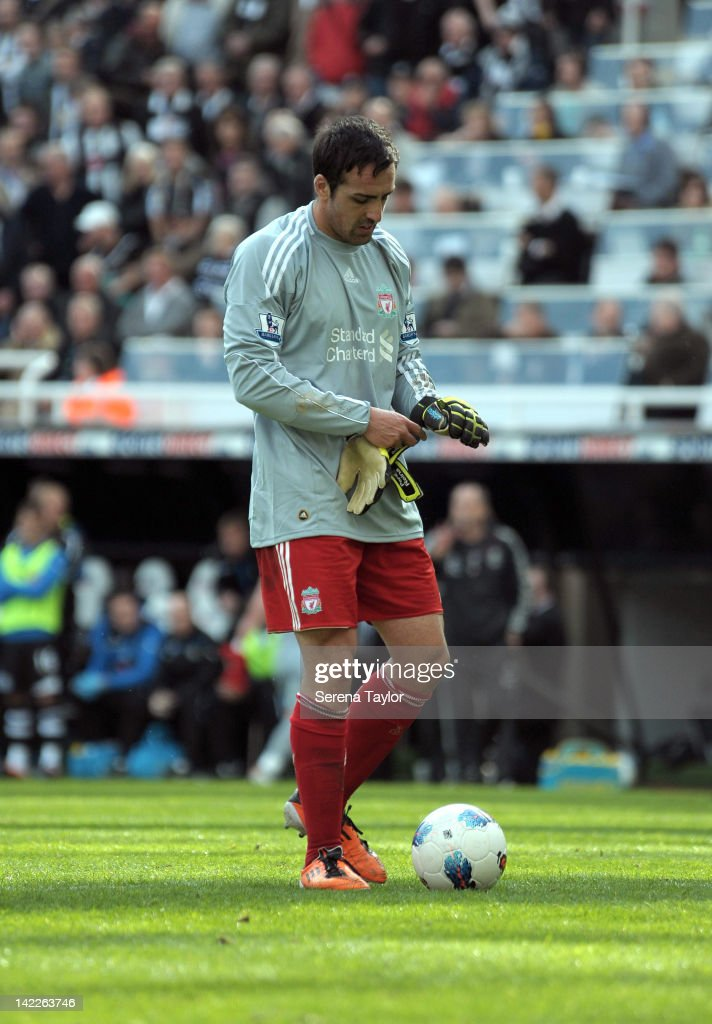 Jose Enrique prepares to go in goal for Liverpool after Pepe Reina was sent off during the Barclays Premier League match between Newcastle United and Liverpool at The Sports Direct Arena on April 01, 2012, in Newcastle upon Tyne, England.