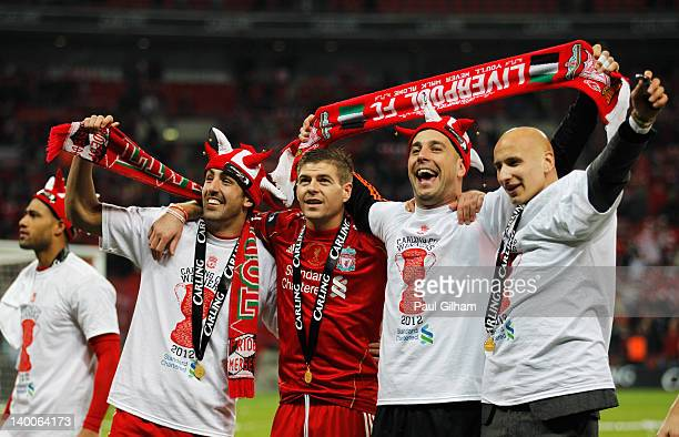Jose Enrique Steven Gerrard Jose Reina and Jonjo Shelvey of Liverpool celebrate after victory in the Carling Cup Final match between Liverpool and...